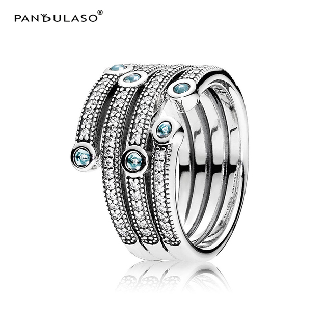 Shimmering Ocean Crystal Rings 2016 New Original 925 Silver Charm Rings for Women Wedding Party Fashion European Style Jewelry