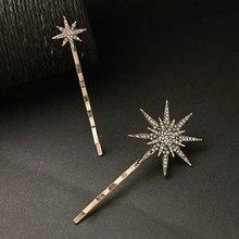 3D estrellas geométricas Luna de pelo de diamantes de imitación conjunto con rizador copo de nieve plata estrella horquillas mujeres Clip LATERAL pelo broches accesorios para el cabello