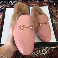Women Brands wok Real Fur   slippers   Ladies Summer Casual Shoes 2018 Mules Shoes Outside   Slippers   Low Heels Female Footwear Slides