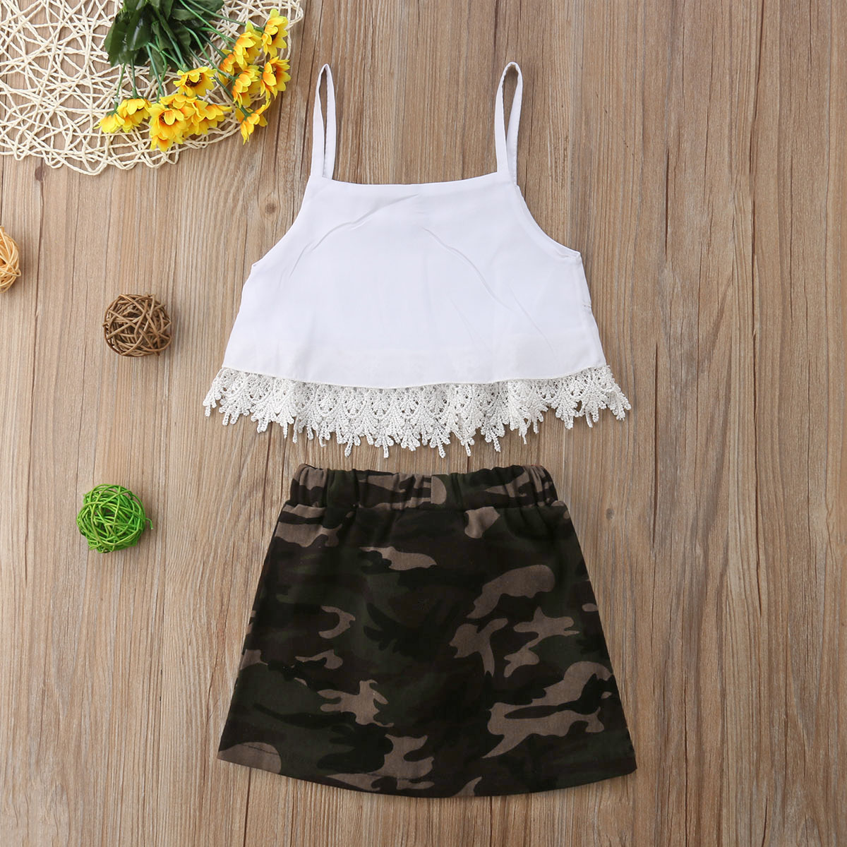 17d619eb4a4c8 Summer Sleeveless Crop Tops Tassel Lace Camouflage Skirt Girls Clothing  Cute Outfits 2PCs Children Kid Baby Girl Clothes Set