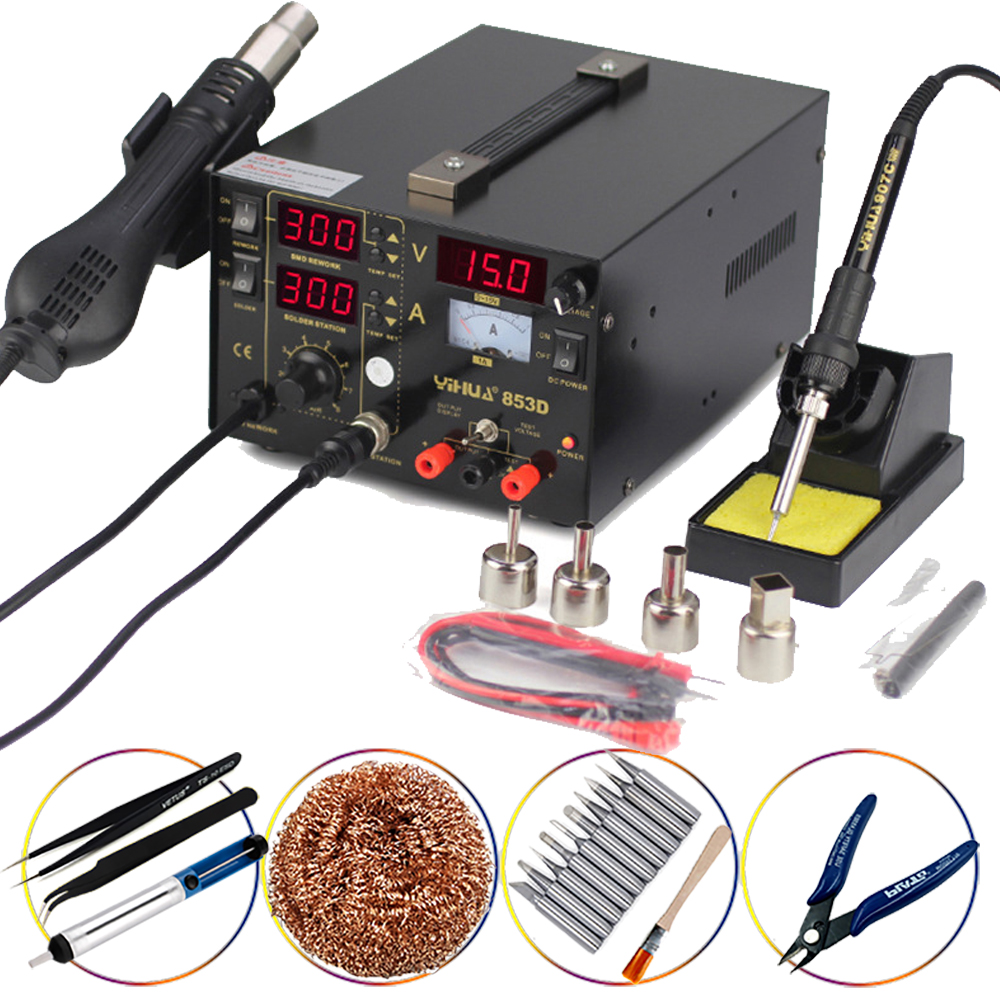 YIHUA 853D 1A BGA Rework Station 3 in 1 SMD Soldering Iron Stations With DC Power Supply Hot Air Gun