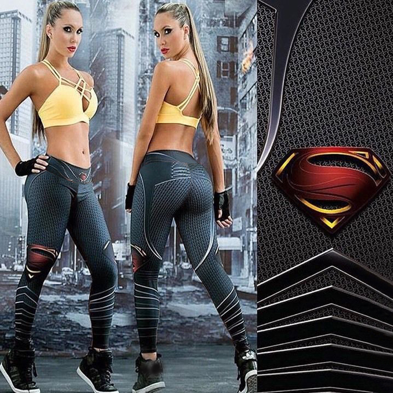 Prix pour Superman Imprimé Sport Leggings de Course Femmes Yoga Pantalon Étiré Gym Vêtements À Séchage Rapide Fitness Leggings Femmes Fitness Pantalon