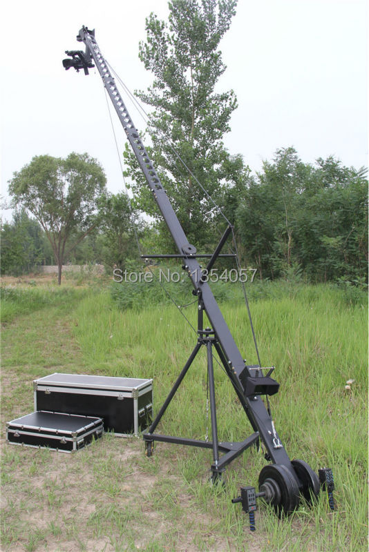 Remote head equilateral triangle cross section 8m jimmy jib camera crane for sale professional dv camera crane jib 3m 6m 19 ft square for video camera filming with 2 axis motorized head
