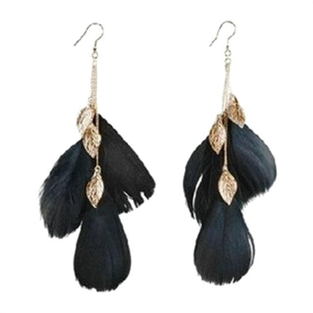 Rose Gold Color Leaf Feather Drop Earrings