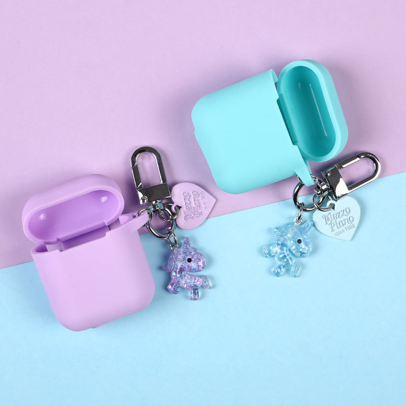 4 Color Acrylic Crystal Unicorn Keychain Keyring Headphone Earphone Case For Apple Airpods Accessories cover box in Key Chains from Jewelry Accessories