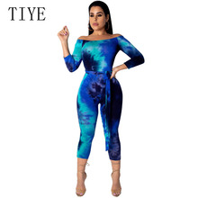 TIYE Summer Sexy Off Shoulder Jumpsuits Overalls Tie Dye Print Playsuit Bandage Bodycon Rompers Womens Jumpsuit Bodysuits