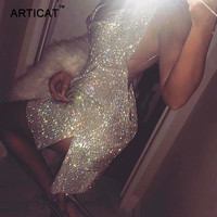 Articat Sexy Backless Gold Silver Sequin Party Dresses Deep V Neck Sleeveless High Split Choker Dress Club Mini Dress Vestidos