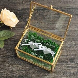 Image 3 - Rustic Wedding Ring Bearer Box Geometric Ring Holder Box, Personalized Wedding Ring Box Glass
