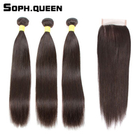 Sophqueen Remy Brazilian Hair Straight Wave 3 Bundles With Closure Lace For Hair Salon PCT 15