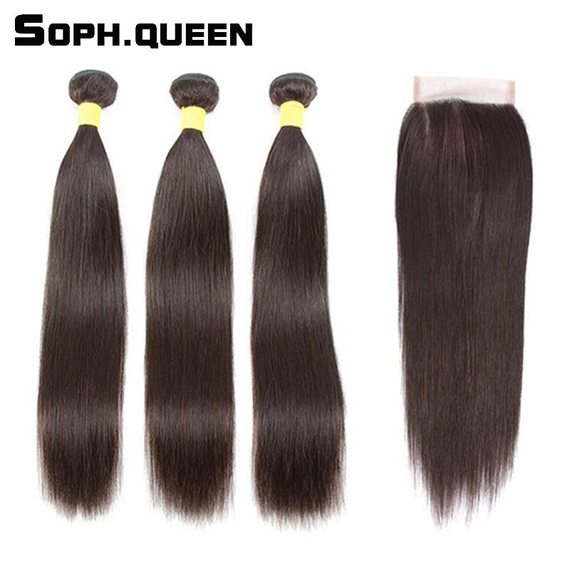 Sophqueen Remy brazil haj egyenes hullám 3 csomók záró csipke a - Emberi haj (fekete)