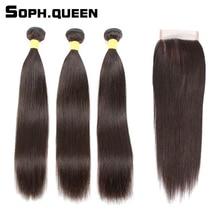 Sophqueen Remy brazil haj egyenes hullám 3 csomók záró csipke a hajápolási PCT 15% emberi haj csomók a záró