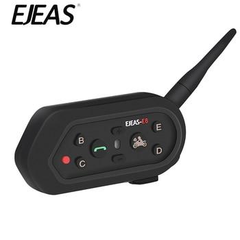 EJEAS E6 Bluetooth Intercom Helmet Headset Motorcycle Intercom Microphone Phone 1200m Communicator Interphone For 6 Riders