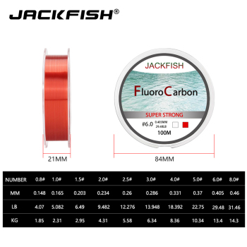 Best JACKFISH fishing line 100M Fluorocarbon Fishing Lines cb5feb1b7314637725a2e7: Clear|Red