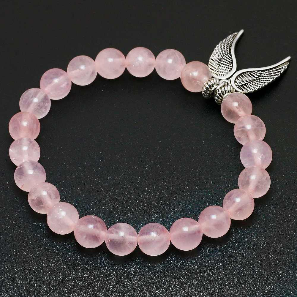 Reiki Natural Pink Quartz with Angel Wings Pendent Bracelet Women Stone Mala Beads Charms Meditation Ethnic Handmade Jewelry