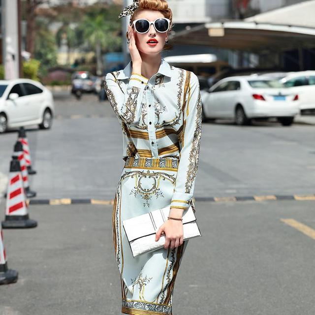 High Street Set 2017 Summer Full Sleeve Baroque Charming Print Blouse + Fashion Knee-Length Slim New Skirt Suits