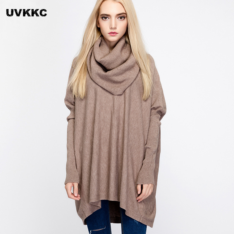 UVKKC Women Scarf Sweaters women sweaters and pullovers 2017 Knitted Sweater Women Pull Femme Oversized Turtleneck