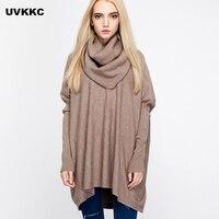UVKKC Women Scarf Sweaters women sweaters and pullovers 2017 Knitted Sweater Women Pull Femme Oversized Turtleneck Long Sweaters