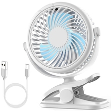 Stroller Fan, Clip On Fan Battery Operated Rechargeable 2500Mah Battery, Usb Cable, 3 Adjustable Speed, Desk Table Portabl