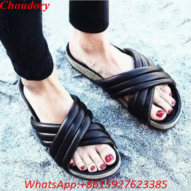 fa528365202b Choudory Style Rihanna Slippers Black Leather Open Toe Crossover Flat  Sandals Outdoor Designer Fashion Beach Slides