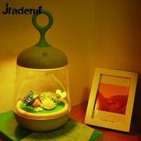 Jiaderui Novelty Touch Sensor Plants Light Colorful 3D Rabbit Butterfly Nightlight USB Charging LED Lamp DIY