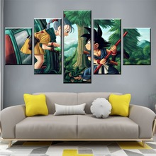 HD Printed Pictures Decor Frame Canvas Painting 5 Panel Dragon Ball Girl And Goku Wall Art Home Poster For Living Room Modern