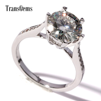 TransGems F Colorless Moissanite Ring Genuine Diamond Accents 14K White Gold Band For Women Wedding Anniversary