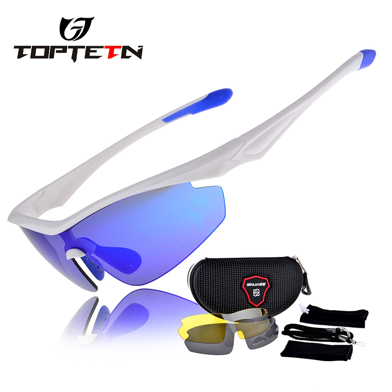 7a8ced39df TOPTETN 3 Lens Polarized Cycling Glasses Jaw Sport Cycling Sunglasses Men  UV400 Breaker MTB Cycling Eyewear Bike Bicycle Goggles