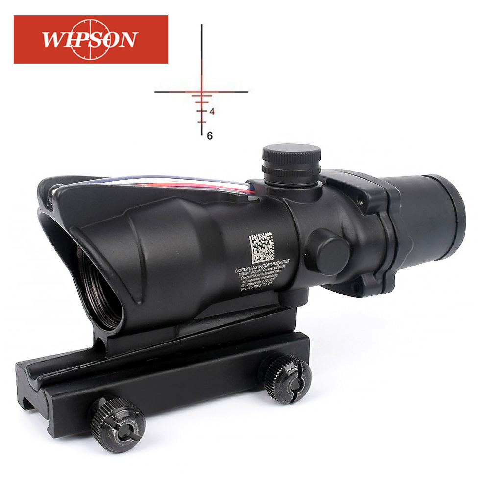Tactical ACOG Style 4x32 Red Real Fiber Optic Illuminated RifleScope RMR Red Dot
