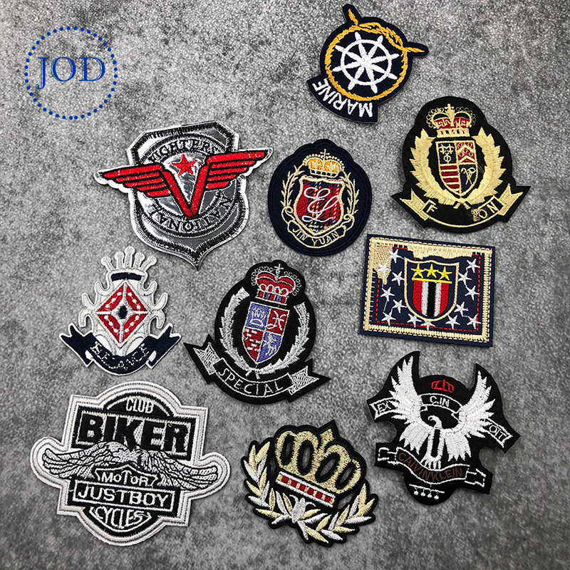JOD Army Embroidery Military Patch Clothes Applique Tactical Iron on Biker Patches for Clothing Stickers Crown Badges Decorative