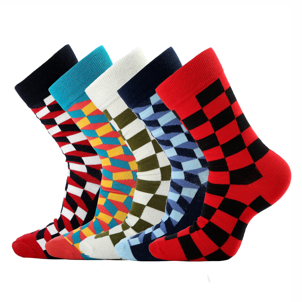 5 Pairs/Lot New Casual Men's Cotton Socks Fashion Funny Colorful Plaid Design Sock Happy Business Party Dress Cotton Socks Man