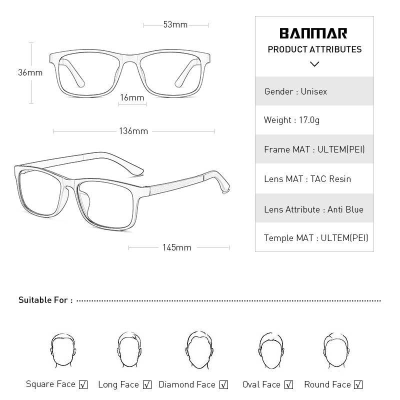 BANMAR New Vintage Men Gaming Glasses ULTEM PEI Computer Anti Blue Ray Light Myopia Spectacle Optical Women Men 5504 in Men 39 s Eyewear Frames from Apparel Accessories