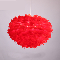 Modern Pink White Feather Pendant Light LED Lamp Dia 80cm Fabric Suspension For Parlor Bedroom room Home Pendant lighting E037
