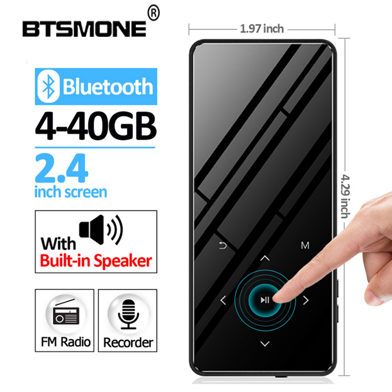 BTSMONE New Bluetooth 4.2 Version Touch Screen MP3 Player 40G Bulit-in Speaker HIFI Lossess Portable Audio MP3 Player With FM
