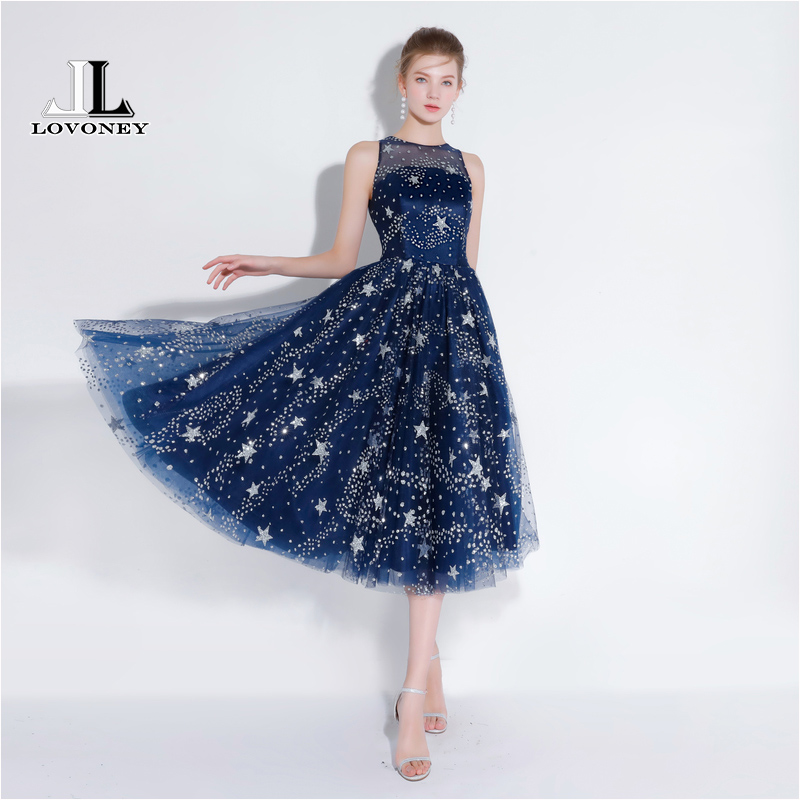 LOVONEY YS425 Tea Length Short Prom Dresses 2018 Sexy See Through Back Star Design Party Dresses