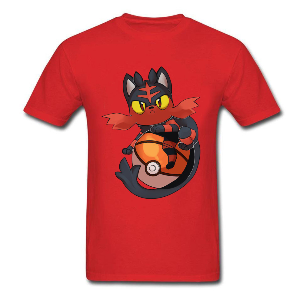 Pokemon-Litten-Dragon-Ball-Z-Aime- Men's New Tops T Shirt O-Neck Lovers Day Pure Cotton Tshirts Slim Fit Short Sleeve Tee-Shirts Pokemon-Litten-Dragon-Ball-Z-Aime- red