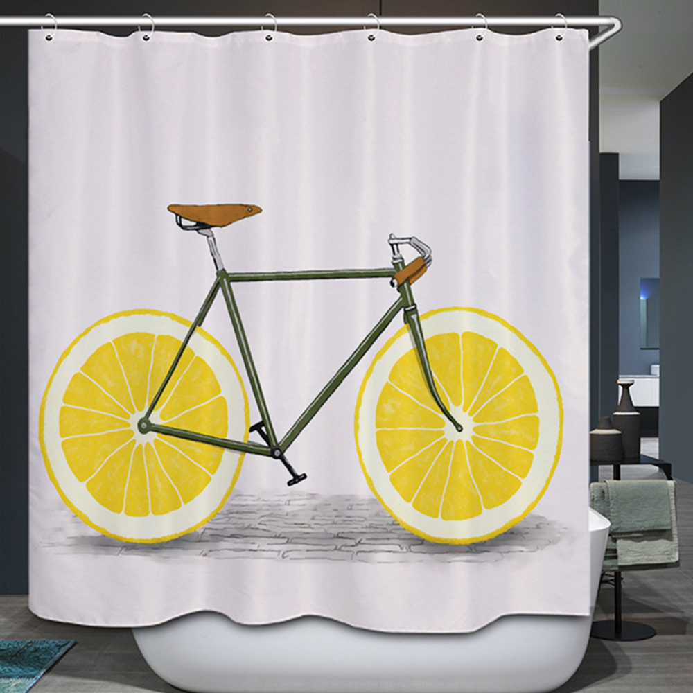 Smiry Personality Design Fruit Shower Curtain Polyester Waterproof Orange Lemon Bicycle Home Decorative Fabric Bathroom