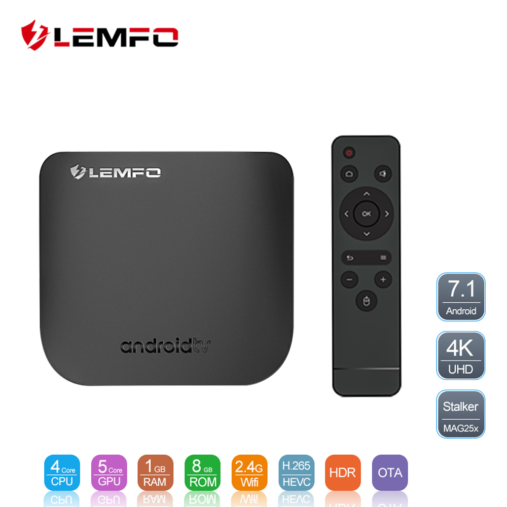 LEMFO Mini Ultra-sottile Astuto di Android TV Box Android 7.1 Full HD 4 k 2.4g Wifi Bluetooth 1 gb + 8 gb Supporto OTA Aggiornamento Set Top Box