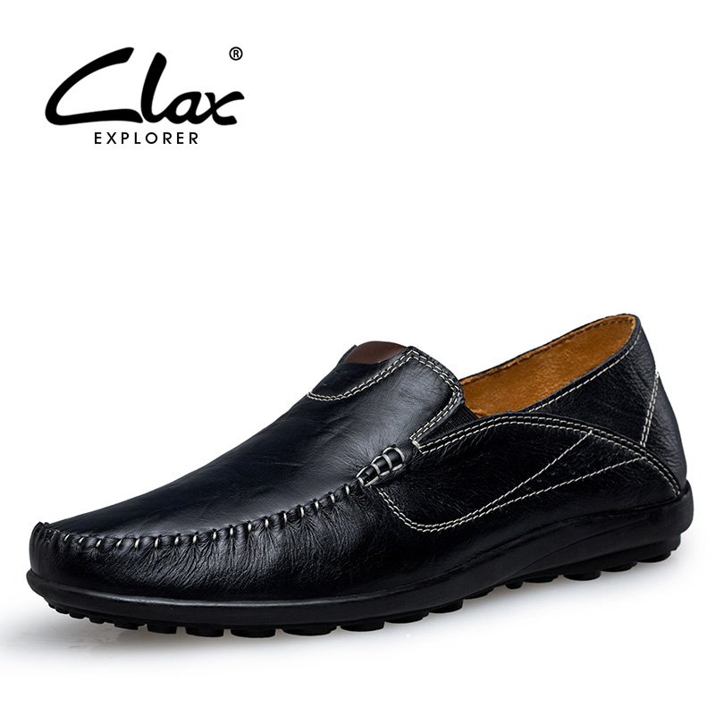 CLAX Men's Casual Loafers Slip on 2018 Autumn Shoes for Male Genuine Leather Flat Boat Shoes Moccasin Footwear Large Sizes clax men shoes luxury brand loafers genuine leather male driving shoes slip on black dress shoe moccasin designer classical