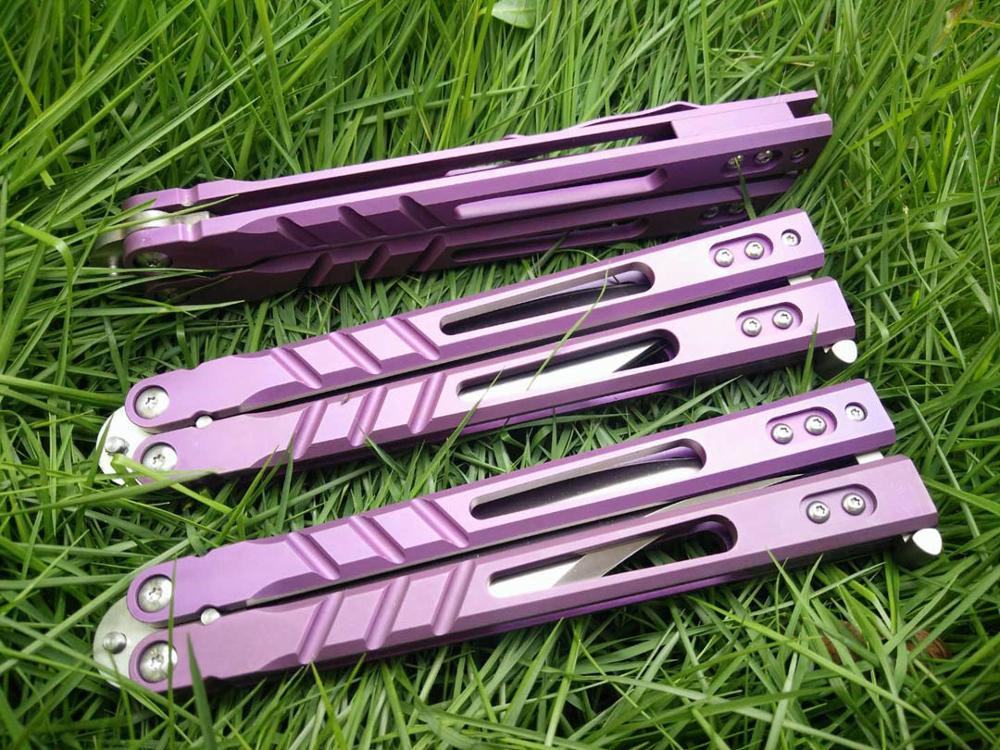 BRS Alpha bête papillon formateur couteau système de douille D2 lame titane poignée Jilt couteau de chasse couteau de poche