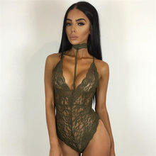 Sexy Elegant Floral Red Lace Bodysuit Women Backless Deep V Neck Slim Bodysuits Bodycon Halter Sleeveless Romper(China)