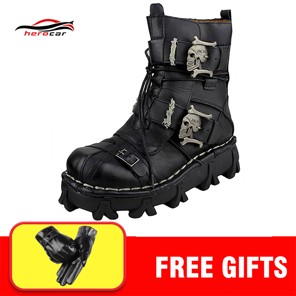 Cool Motorcycle Boots Men Biker Retro Genuine Cow Leather Skull Punk Martin Shoes Motorbike Moto Boots Protective Gear EU 38 49