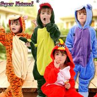 HKSNG Winter Kids Flannel Animal Pikachu Totoro Eeyore Pig Tiger Cat Giraffe Unicorn Pajamas Onesies Cosplay