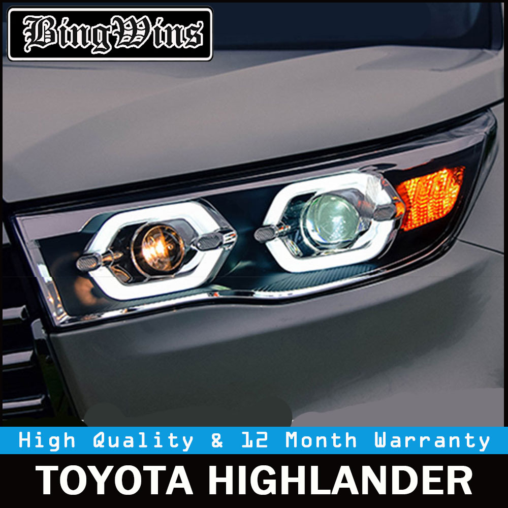Car Styling for Toyota Highlander Headlights 2015 2016 2017 New Kluger LED Headlight drl Lens Double Beam H7 HID Xenon