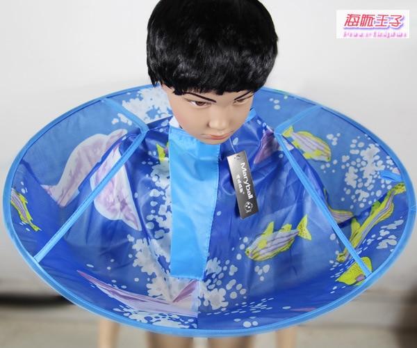 Плащ для стрижки волос накидка-зонтик салон водонепроницаемый детский домашний парикмахерский для детского парикмахера дизайн платья парикмахеров - Цвет: blue dolphin