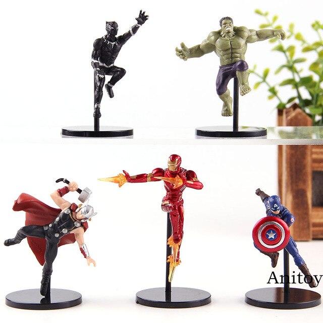 PUTITTO Série Marvel Action Figure Brinquedos de Super-heróis Vingadores Homem De Ferro Hulk Thor Capitão América Black Panther Brinquedo PVC 5 pçs/set