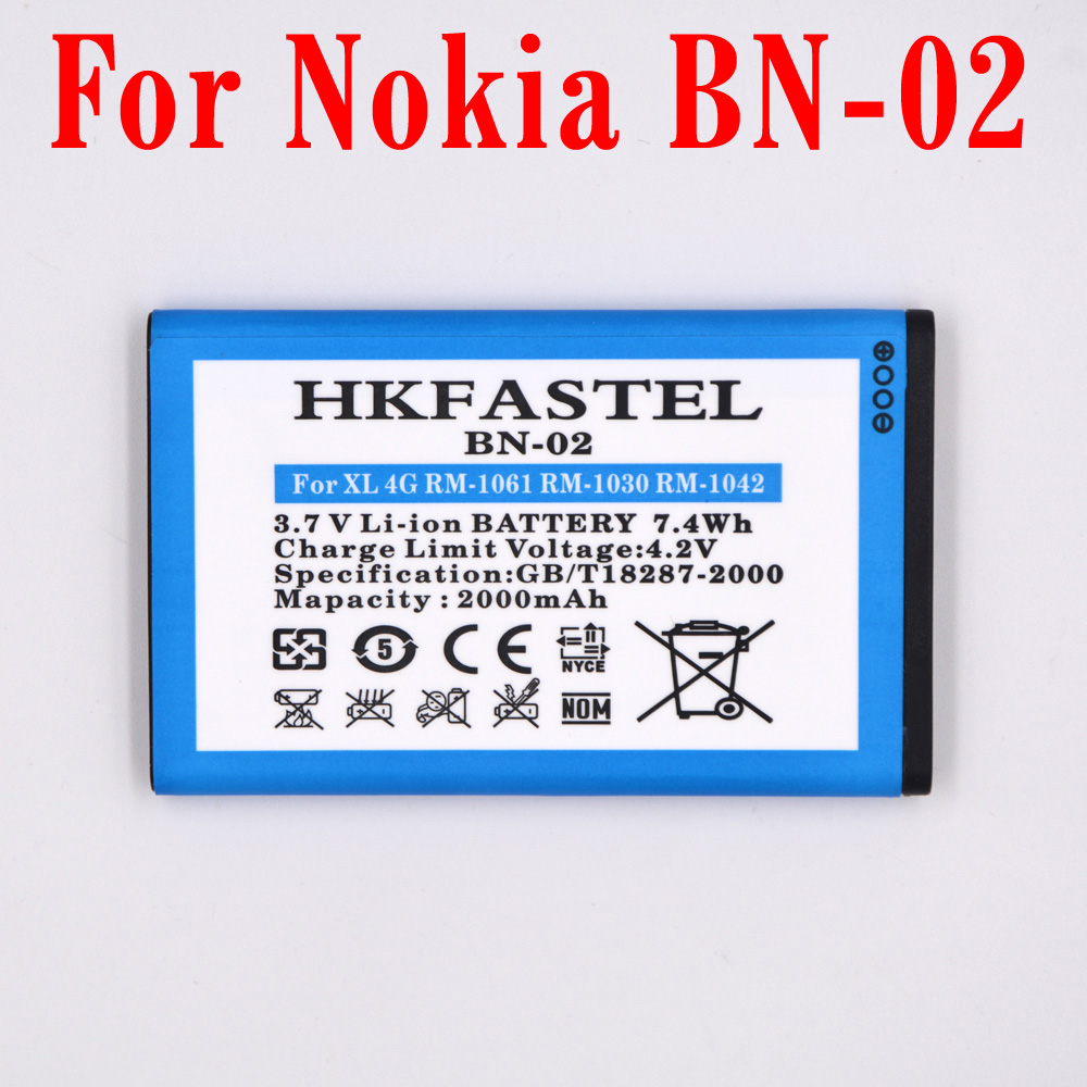 HKFASTEL New BN-02 <font><b>BN02</b></font> Battery For Nokia XL / XL 4G RM-1061 RM-1030 RM-1042 RM 1061 Mobile Phone Replacement batteries 2000mAh image
