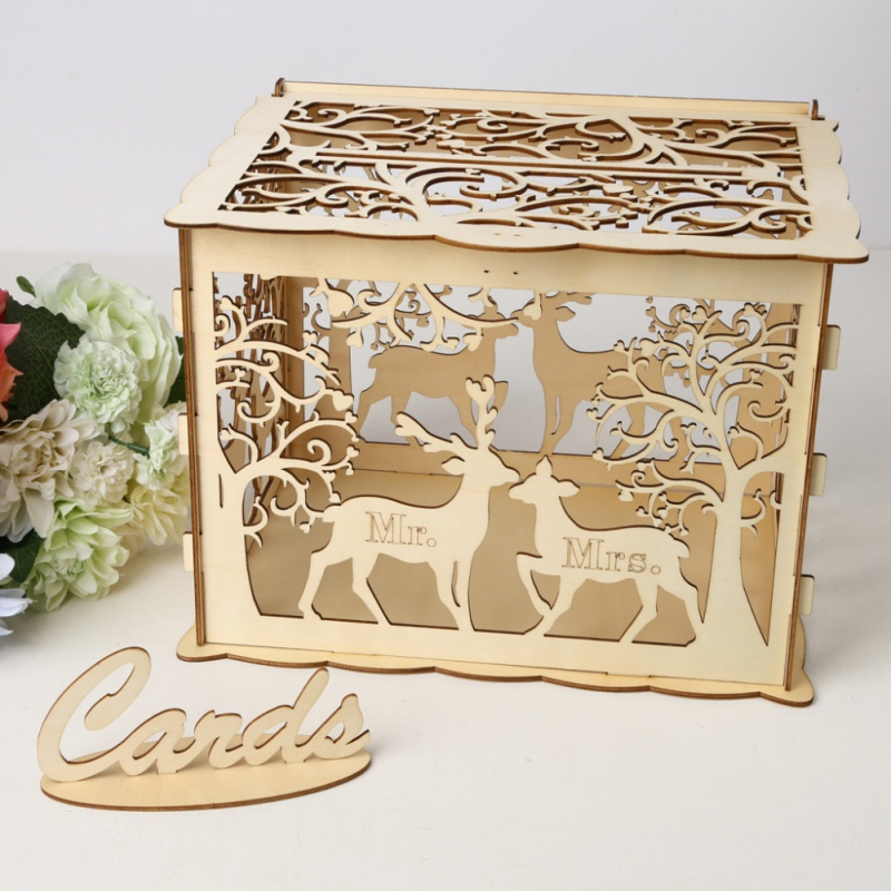 Us 9 36 44 Off Diy Wedding Gift Card Box Wooden Money Box Beautiful Wedding Decoration Supplies For Birthday Party In Wedding Card Boxes From Home