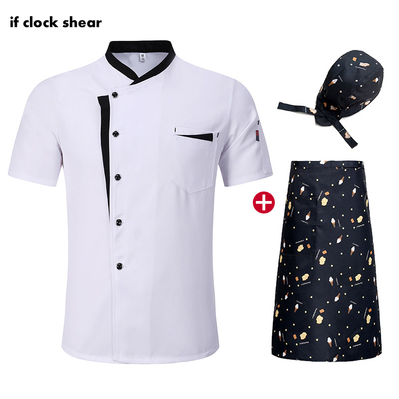Unisex Chef Restaurant Uniform Food Service Hotel Kitchen Short Sleeve Work Clothes Breathable Thin Chef Jacket M-4XL Chef Coat