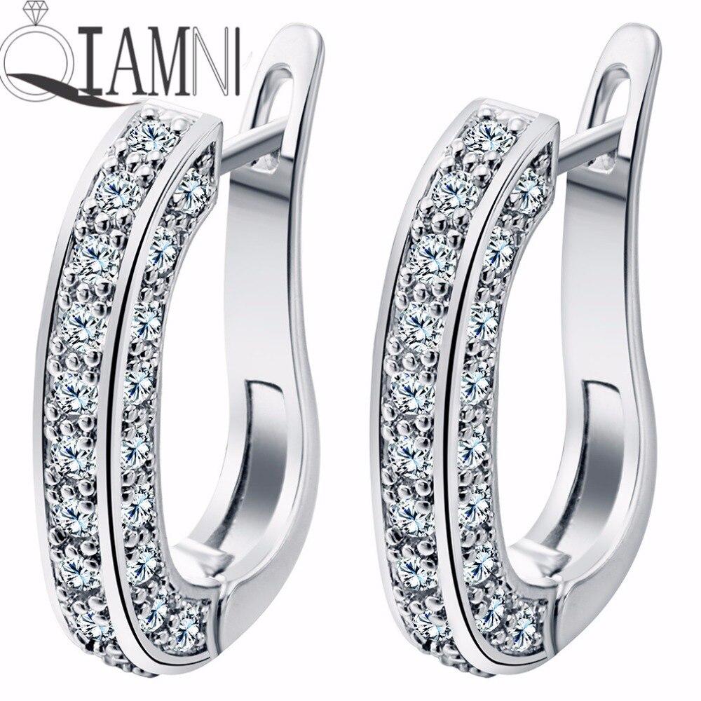 QIAMNI Charming Shining Beautiful U-shaped Round Clear Cubic Zircon Hoop Earrings for Women Girls Party Wedding Gift