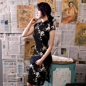 Image 3 - 黒ノベルティ刺繍レース膝丈 Silm レディースチャイナドレス中国風のステージショーエレガントな古典袍 M 3XL